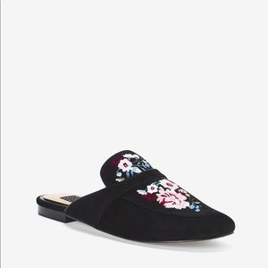 WHBM Embroidered Suede Slides Size 8.5